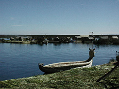 Reed boats, decorated with beautiful art work, stand out on the island of Uros, which is the first stop once leaving the dock at Puno.