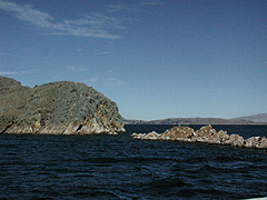 The ride out to the southern islands on Lake Titicaca has amazing geological uplifts in the water.
