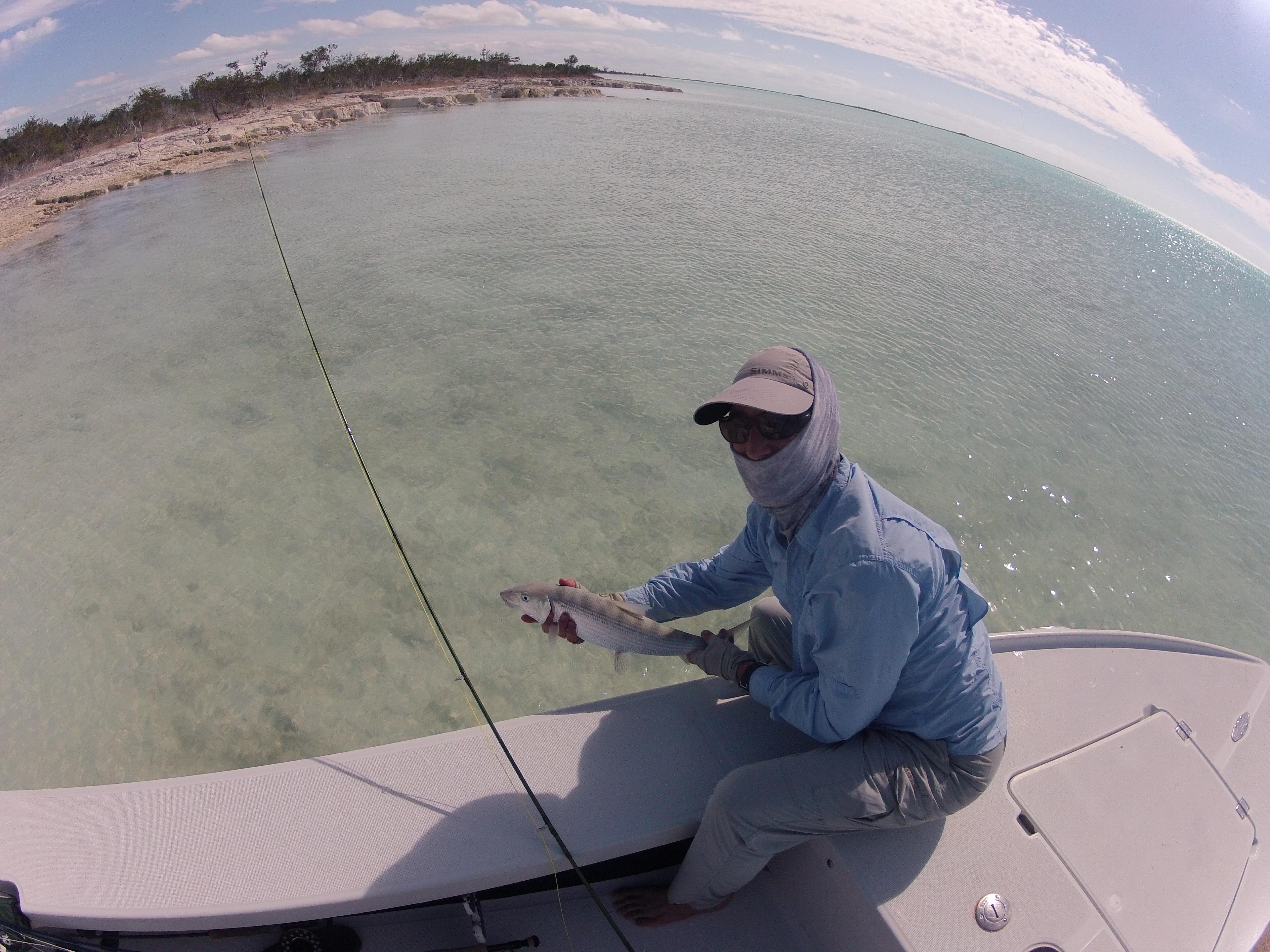 Jim Bankstone lands a nice bone-fish